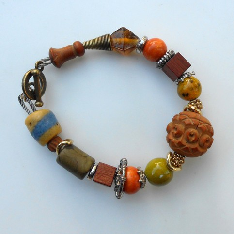 Bracelets bruns et orange, Réf.B 86